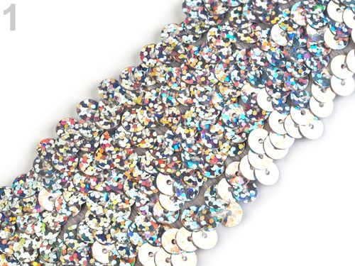 Galon en sequin large argent 45 mm 13metres50