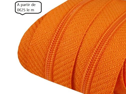 fermeture au metre 3 mm orange
